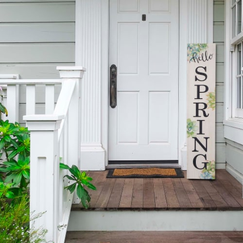 Glitzhome Spring Wooden Porch Sign Perspective: right