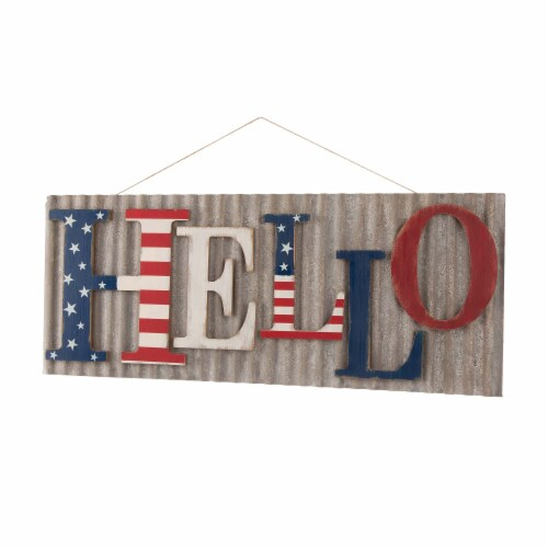Glitzhome Vintage Metal & Wooden Patriotic Hello Sign Perspective: right