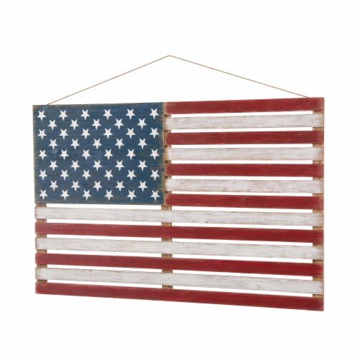 Glitzhome Wooden Distressed Patriotic National Flag Sign Perspective: right