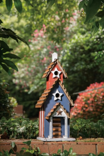 Glitzhome Oversized Wood & Rustic Metal Patriotic Birdhouse Perspective: right