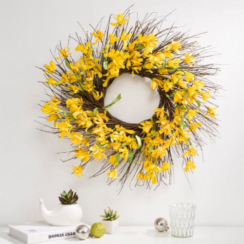 Glitzhome Spring and Summer Artificial Jasmine Wreath Perspective: right