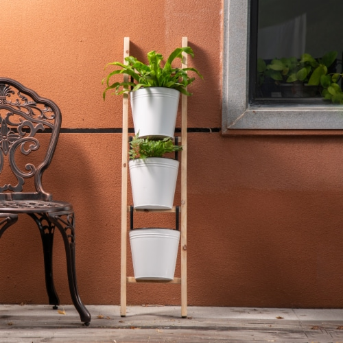 Glitzhome 3-Tier Leaning Ladder Planter Perspective: right