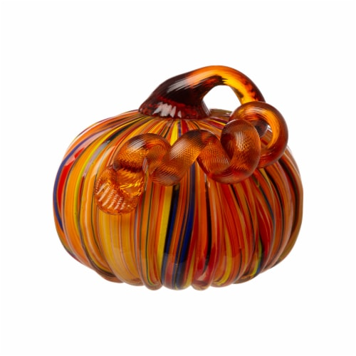 Glitzhome Multi-Striped Fall Glass Pumpkin Set Perspective: right