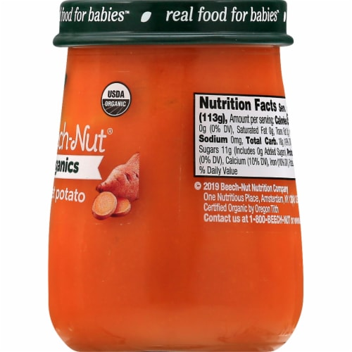 Beech-Nut Organics Just Sweet Potatoes Stage 1 Baby Food Perspective: right
