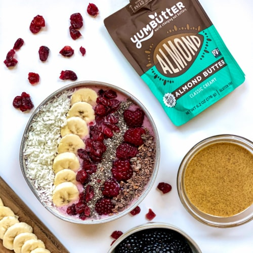 Yumbutter Creamy Almond Butter Squeeze Pouch - No Sugar Added Perspective: right