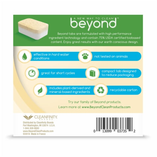 Beyond Natural Dishwasher Tablets - Fragrance & Dye Free - Case of 8 boxes Perspective: right