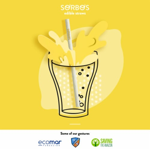 SORBOS Edible Straws, Lemon Flavor, Individually Packaged, 200 Count Perspective: right