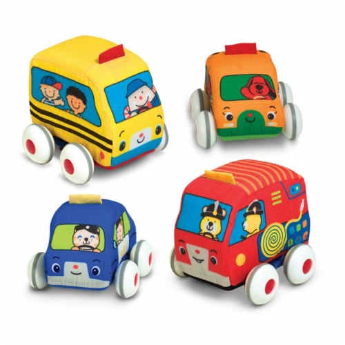 Melissa & Doug® Pull-Back Town Vehicles Baby and Toddler Toy Perspective: top