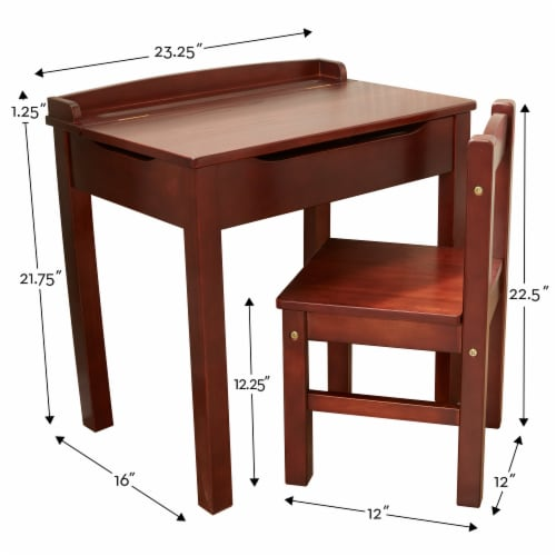 Melissa & Doug® Wooden Lift-Top Desk & Chair - Espresso Perspective: top