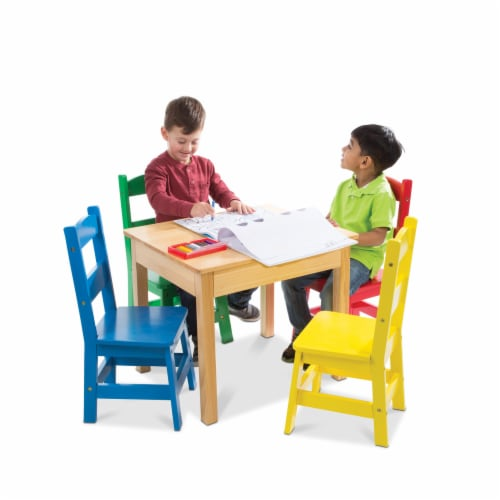 Melissa & Doug® Primary Colors Table & Chairs Set Perspective: top