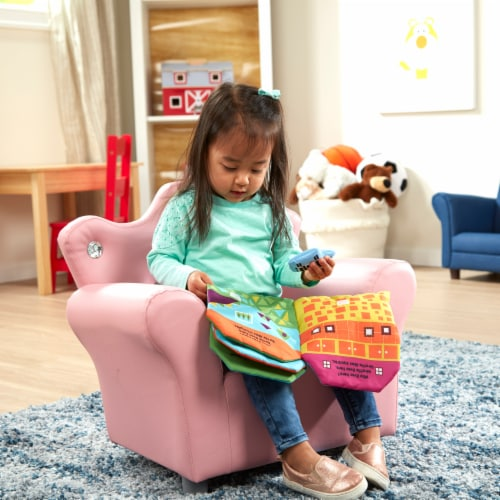 Melissa & Doug® Faux Leather Child's Crown Armchair - Pink Perspective: top