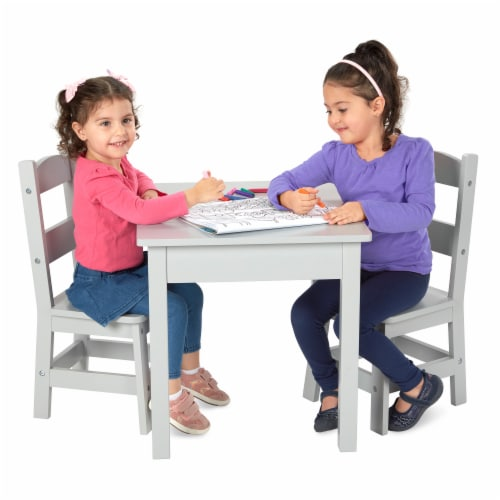 Melissa & Doug® Wooden Table & Chairs Set - Gray Perspective: top