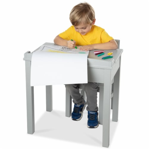 Melissa & Doug® Wooden Lift-Top Desk & Chair - Gray Perspective: top