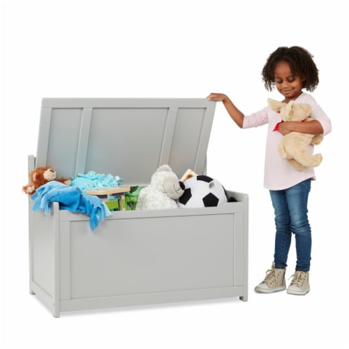 Melissa & Doug® Wooden Toy Chest - Gray Perspective: top
