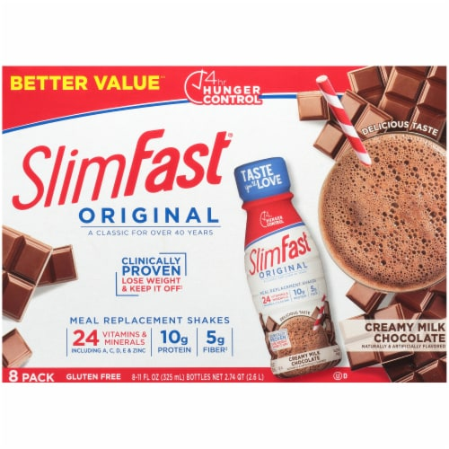 SlimFast Original Creamy Milk Chocolate Ready To Drink Meal Replacement Shakes Perspective: top