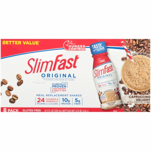 SlimFast Original Cappuccino Delight Meal Replacement Shakes Perspective: top