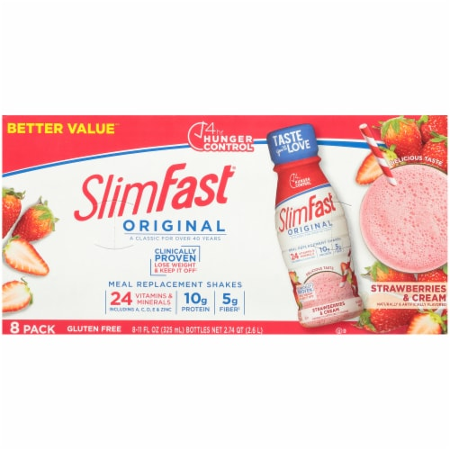 SlimFast Original Strawberries & Cream Ready To Drink Meal Replacement Shakes Perspective: top