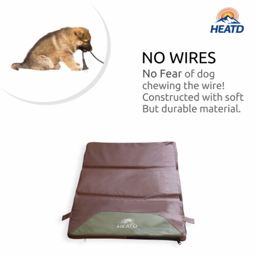 HEATD Dog Mattress with Removable Heating Pad Rechargeable Battery & Cooling Pad Slots - XL Perspective: top