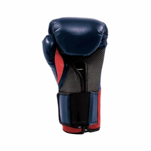 Everlast Pro Style Elite Workout Training Boxing Gloves Size 16 Ounces, Navy/Red Perspective: top