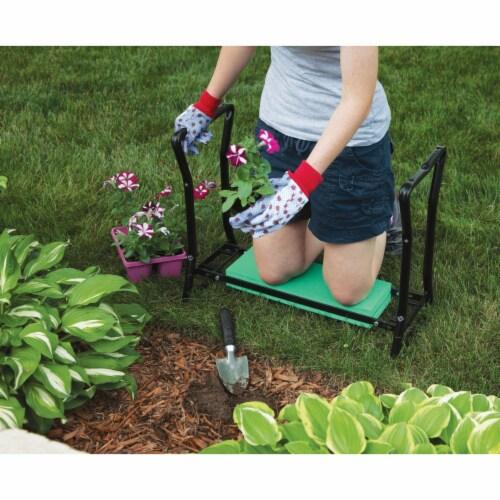 Best Garden Green Foam Pad w/Black Steel Frame Garden Kneeler Bench GM7104 Perspective: top