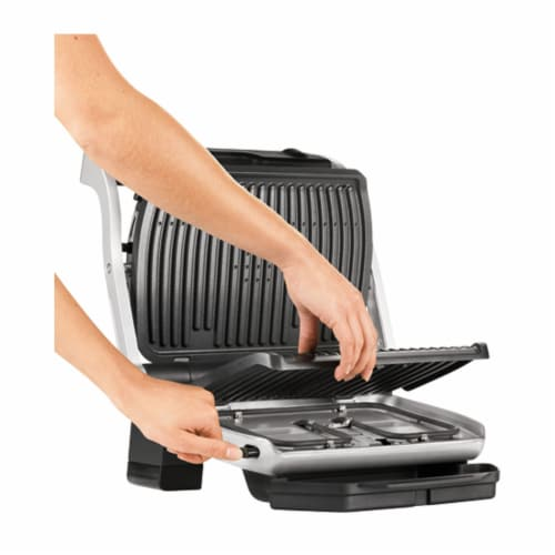 T-fal OptiGrill Plus Stainless Steel Indoor Electric Grill Perspective: top