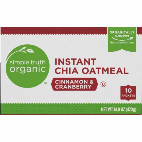 Simple Truth Organic® Instant Cinnamon & Cranberry Chia Oatmeal Packets Perspective: top