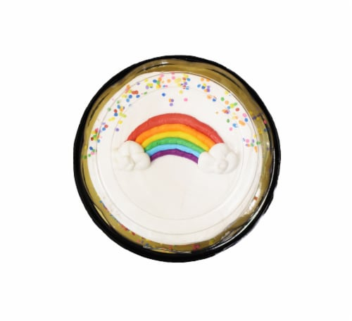 Bakery Fresh Goodness Double Layer Rainbow Yellow Cake Perspective: top