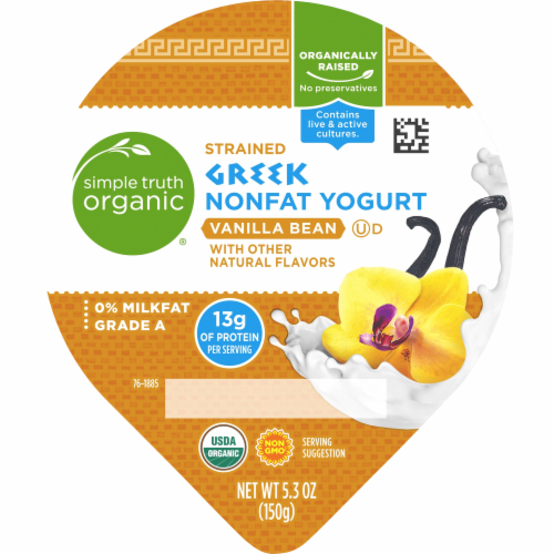 Simple Truth Organic™ Strained Vanilla Bean Greek Nonfat Yogurt Perspective: top