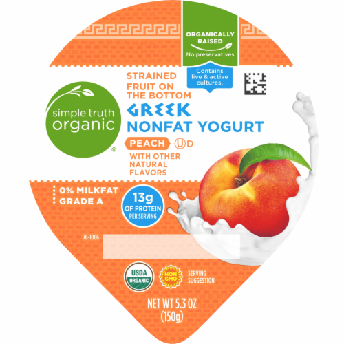 Simple Truth Organic™ Strained Peach Greek Nonfat Yogurt Perspective: top