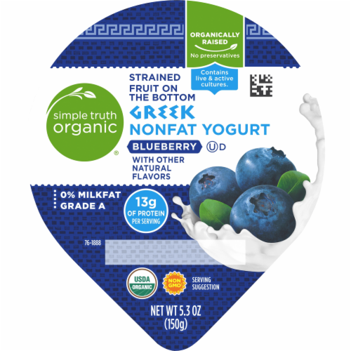 Simple Truth Organic® Strained Fruit on the Bottom Blueberry Greek Nonfat Yogurt Perspective: top