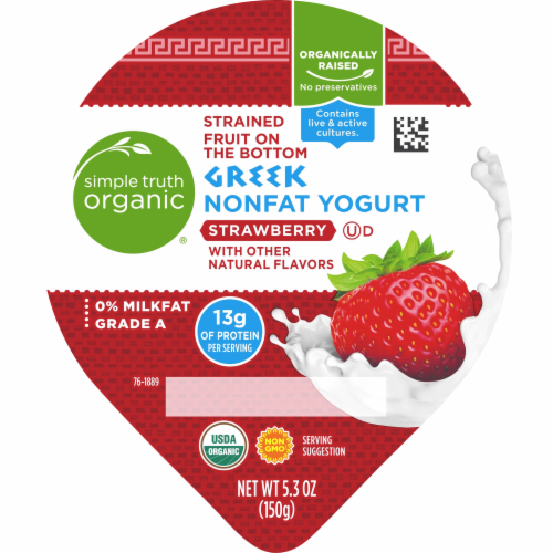 Simple Truth Organic™ Strained Strawberry Greek Nonfat Yogurt Perspective: top