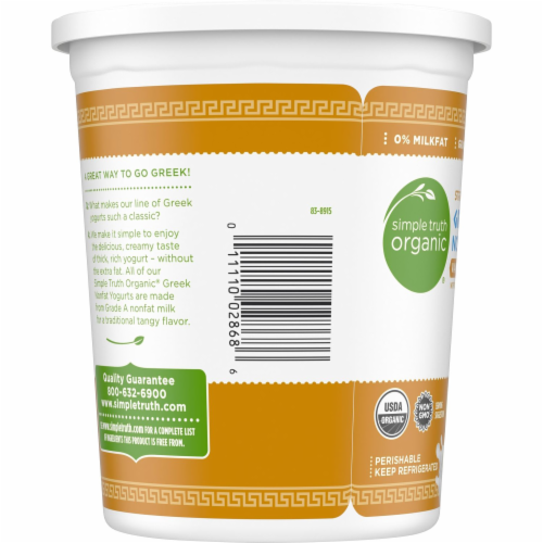 Simple Truth Organic® Strained Vanilla Bean Greek Nonfat Yogurt Perspective: top