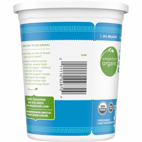 Simple Truth Organic® Plain Strained Greek Nonfat Yogurt Perspective: top