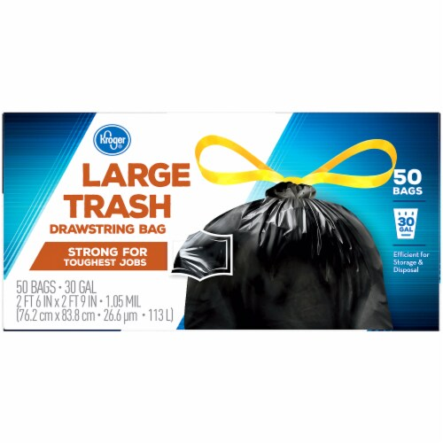 Kroger® Large 30 Gallon Drawstring Trash Bags Perspective: top