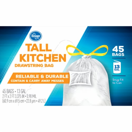 Kroger® Tall 13 Gallon Kitchen Drawstring Bags Perspective: top