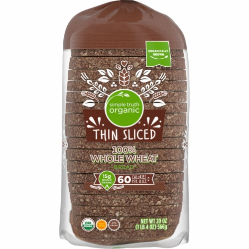 Simple Truth Organic® 100% Whole Wheat Thin Sliced Bread Perspective: top