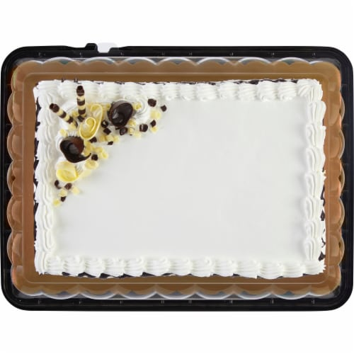 Bakery Fresh Goodness Chocolate Drip White Sheet Cake with Whippy Icing Perspective: top