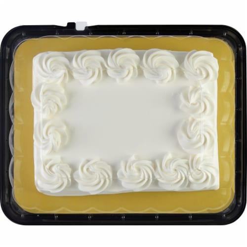 Bakery Fresh Goodness Rosette Border White Sheet Cake Perspective: top