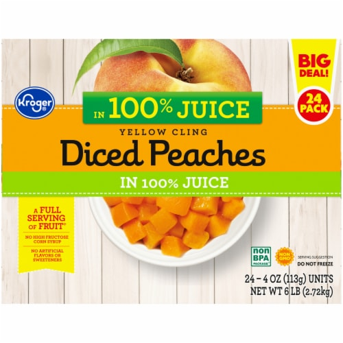 Kroger® Yellow Cling Diced Peaches Fruit Cups Family Pack Perspective: top