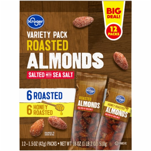 Kroger® Roasted Almonds Salted with Sea Salt Variety Pack Perspective: top