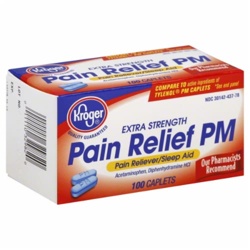 Kroger® Extra Strength Pain Relief PM Caplets Perspective: top