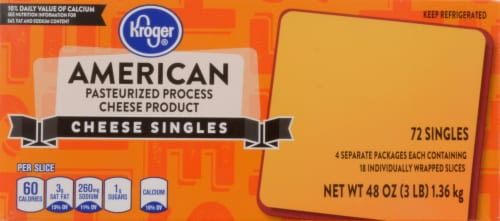 Kroger® American Cheese Singles 72 Count Package Perspective: top