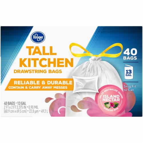 Kroger® Island Nectar Scented 13 Gallon Tall Kitchen Drawstring Trash Bags Perspective: top