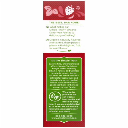 Simple Truth Organic™ Dairy-Free Strawberry Paletas Fruit Bars Perspective: top