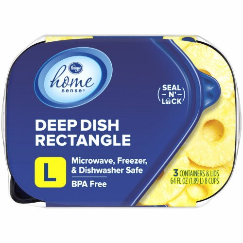 Kroger® Large Deep Dish Disposable Food Containers & Lids - 3 Pack - Clear/Blue Perspective: top