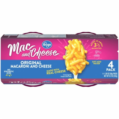 Kroger®  Original Macaroni & Cheese Cups (4) 2.05 oz Package Perspective: top