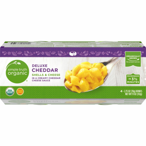 Simple Truth Organic® Deluxe Cheddar Shells & Cheese Bowls Perspective: top