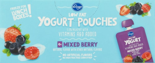 Kroger® Low Fat Mixed Berry Yogurt Pouches Perspective: top