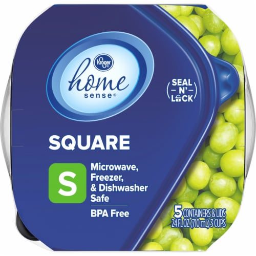 Kroger® Small Square Storage Containers - 5 Pack - Clear/Blue Perspective: top