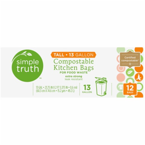 Simple Truth™ Tall 13 Gallon Compostable Kitchen Trash Bags Perspective: top